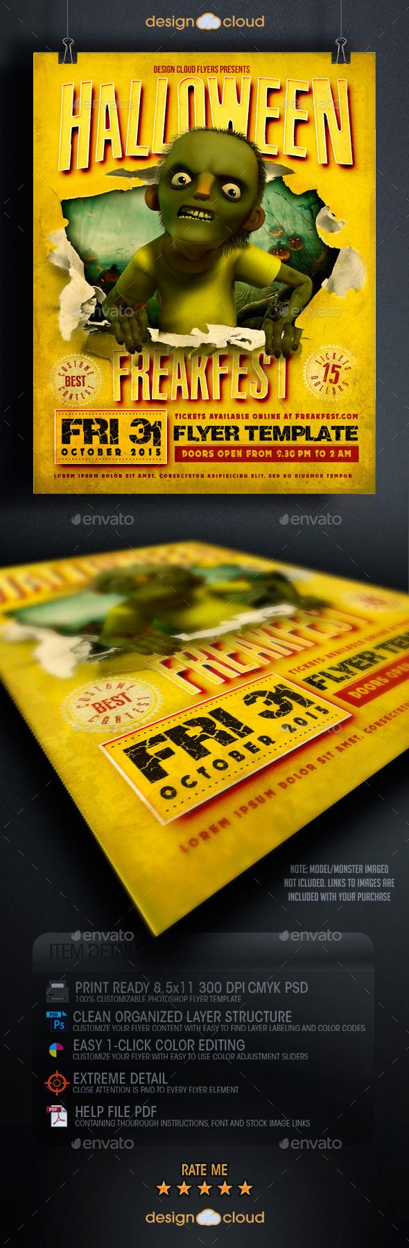 Halloween Freak Fest Flyer Template - Holidays Events