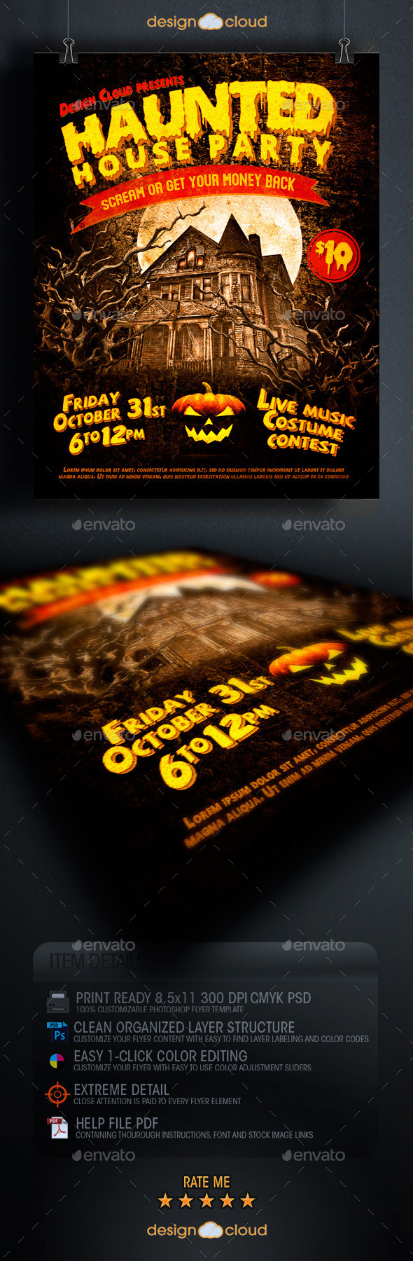 Haunted House Party Flyer Template - Holidays Events