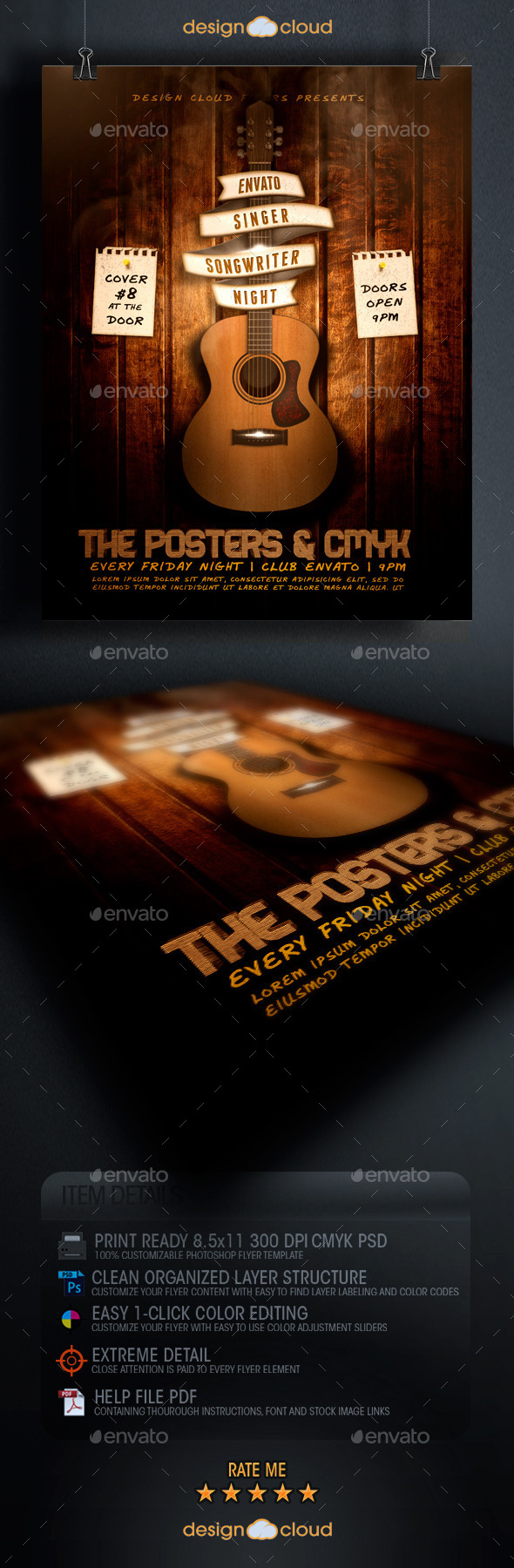 Singer, Songwriter Night Flyer Template - Clubs & Parties Events