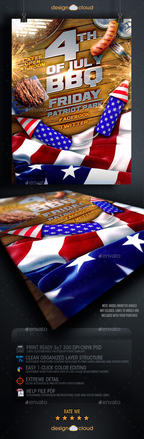 July 4th bbq flyer template by design cloud graphicriver for 4th of july menu template