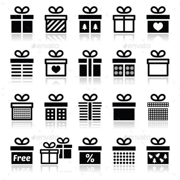Present, Gift Box Vector Icons Set  - Christmas Seasons/Holidays
