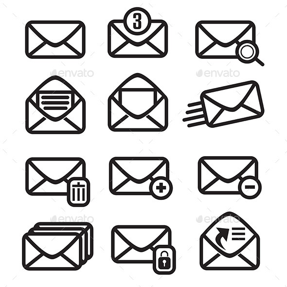 Mail Icons. Vector Illustration - Communications Technology