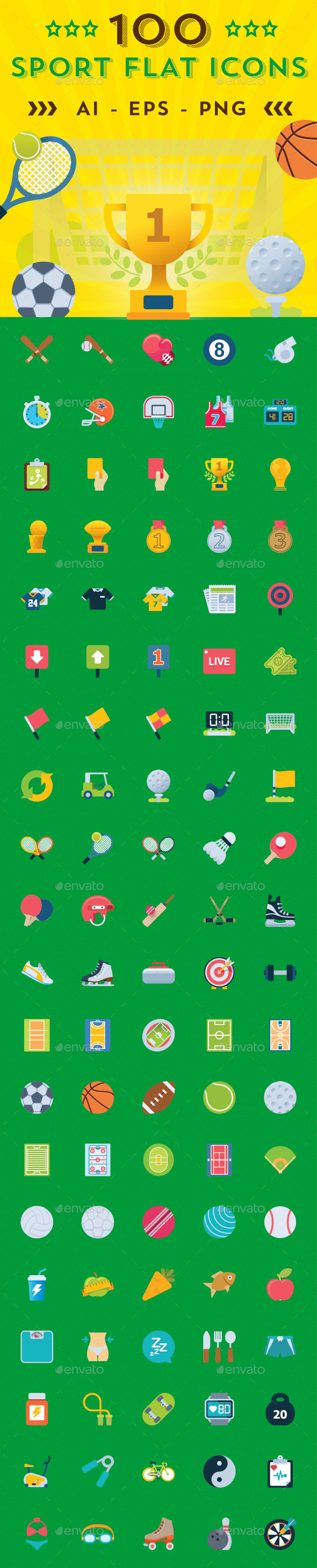 Sports Shop Flat Icons - Icons