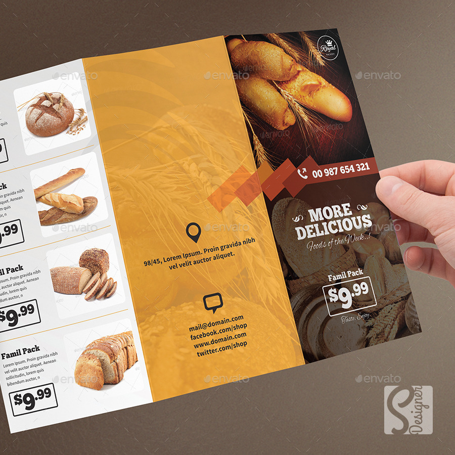 bakery food trifold brochure by s