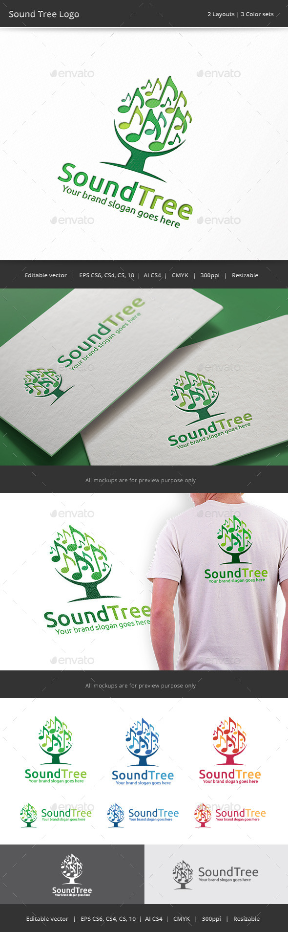 Sound Tree Logo - Vector Abstract