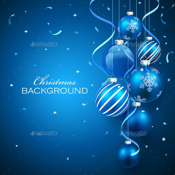 Christmas Balls on Blue Background - Christmas Seasons/Holidays