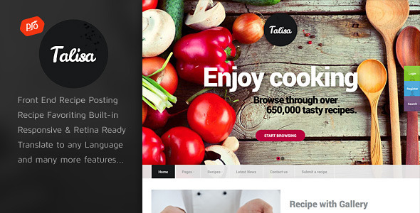 Talisa - Food Recipes WordPress Theme - Food Retail