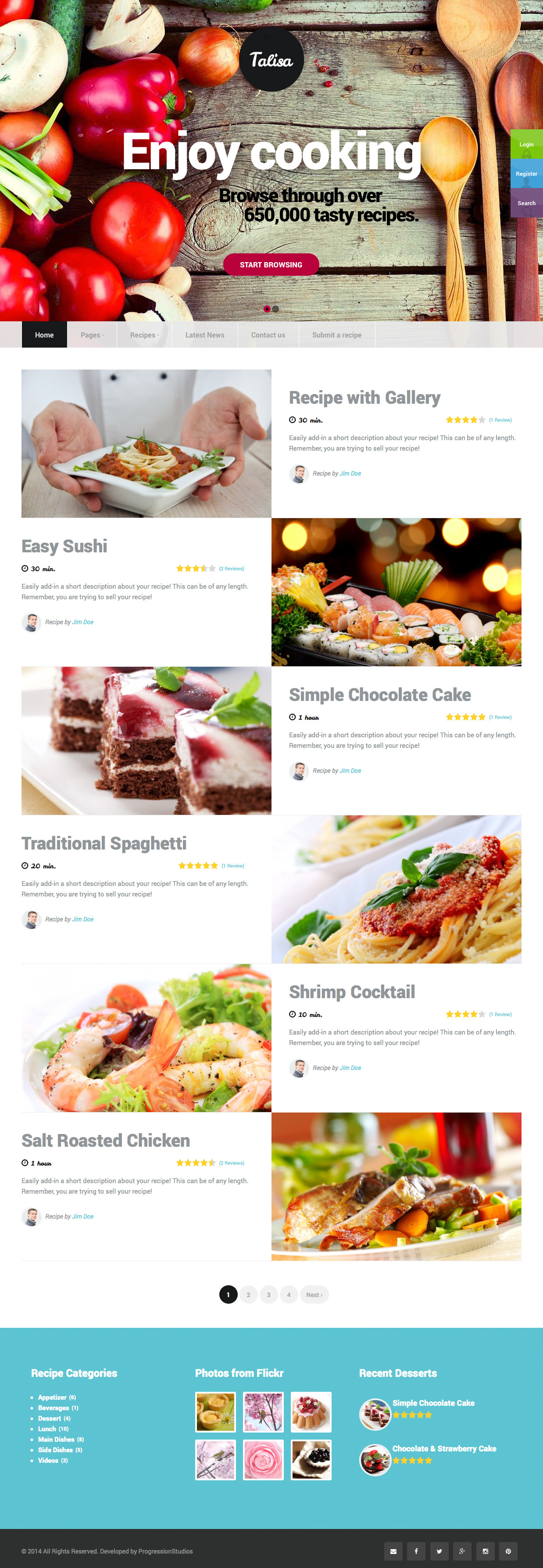 Talisa food recipes wordpress theme by progressionstudios screenshots3 recipe postg screenshots4 profile pageg screenshots5 submit a recipeg screenshots6 theme customizerg forumfinder