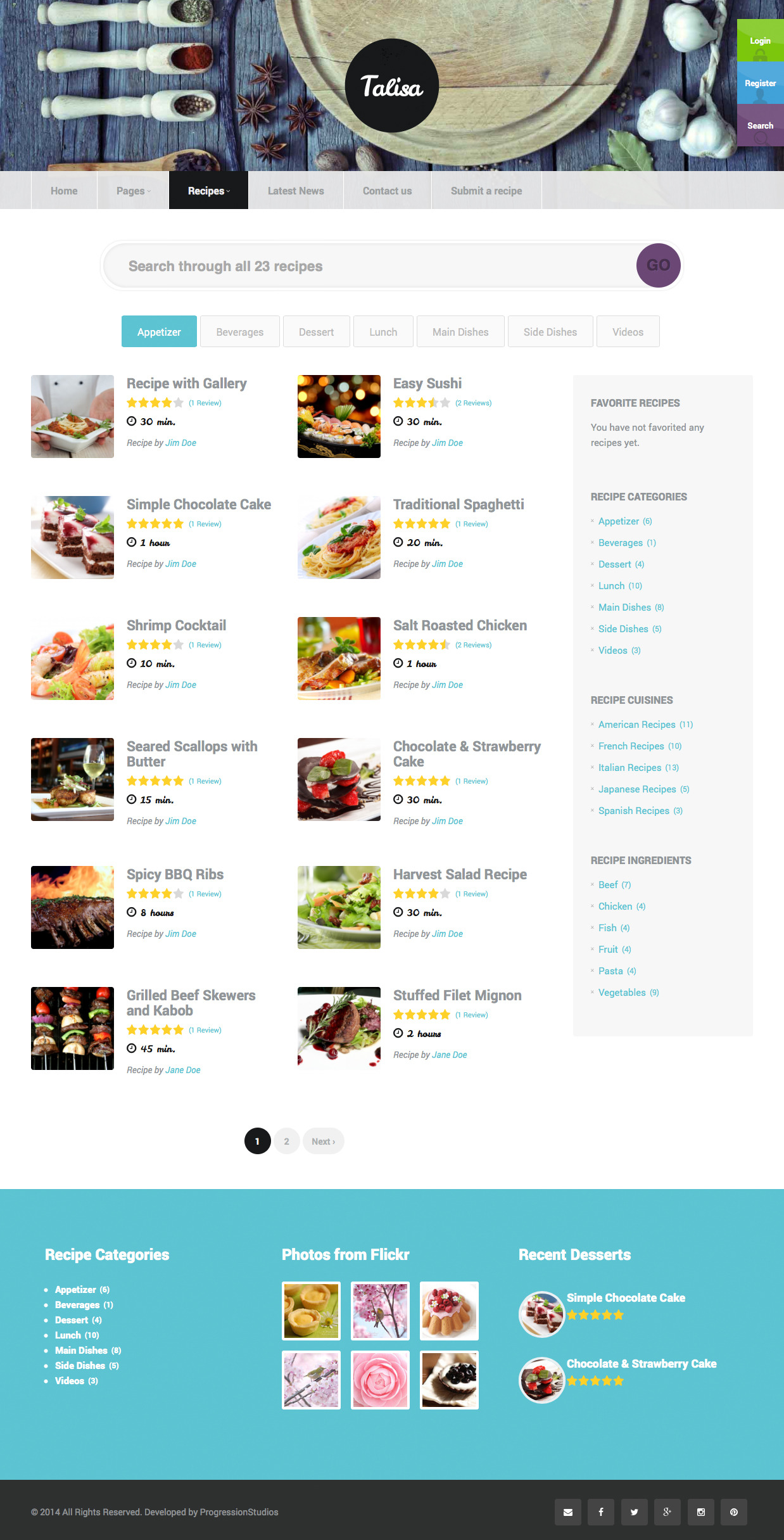 Talisa food recipes wordpress theme by progressionstudios screenshots2 recipe listg forumfinder Images