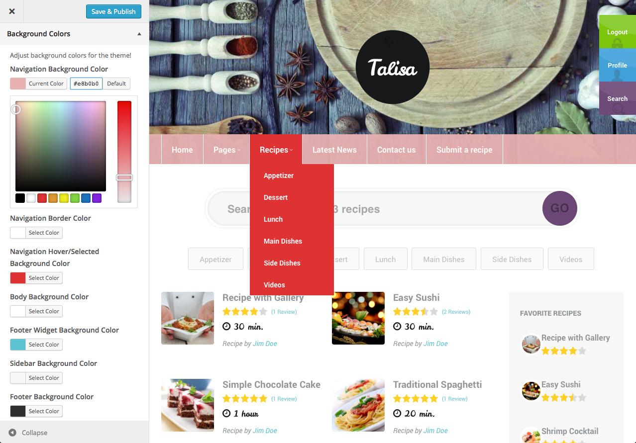 Talisa food recipes wordpress theme by progressionstudios screenshots6 theme customizerg forumfinder Image collections