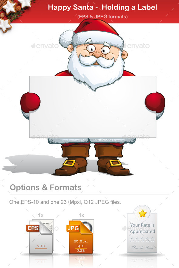 Happy Santa - Holding a Label  - People Characters