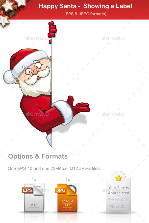 Happy Santa - Showing a Label - People Characters