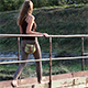 Girl Crossing the Small Bridge 4 - VideoHive Item for Sale