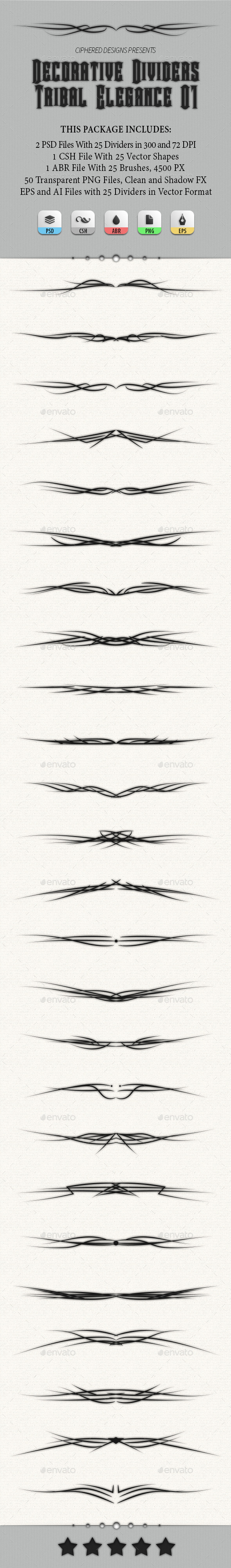 Decorative Dividers - Tribal Elegance 01 - Miscellaneous Social Media