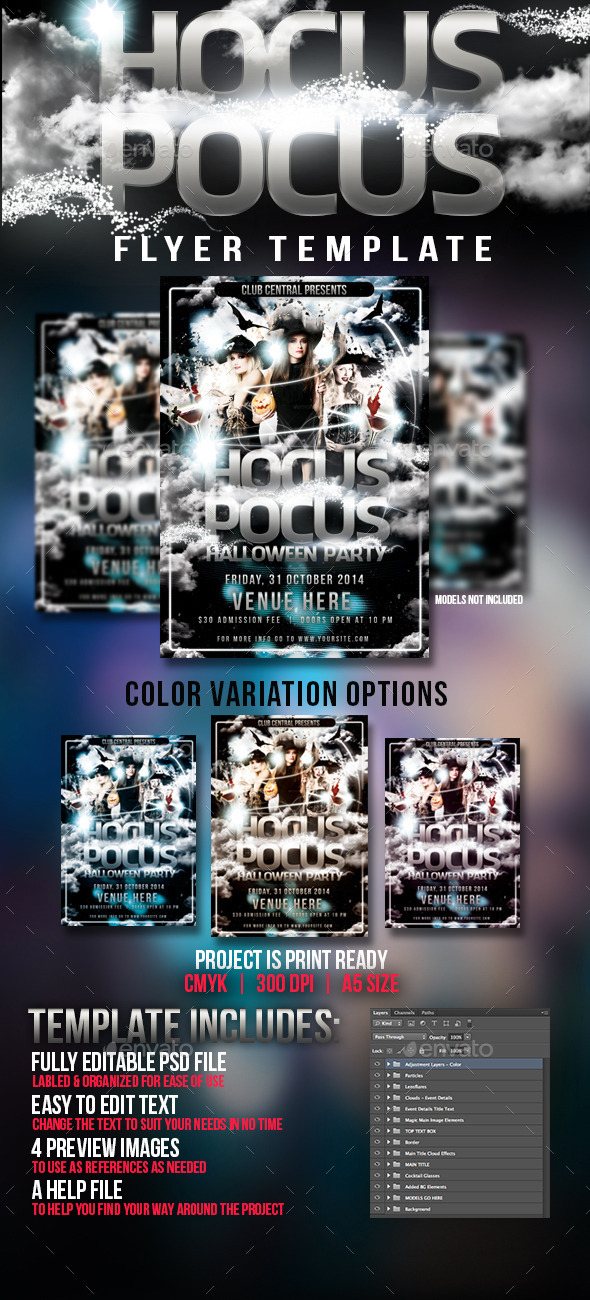 Hocus Pocus Halloween Party Flyer Template - Clubs & Parties Events