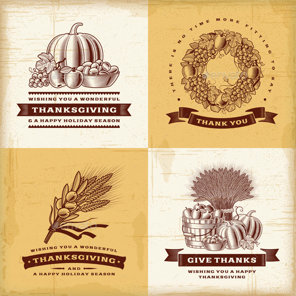 Vintage Thanksgiving Labels Set - Decorative Symbols Decorative