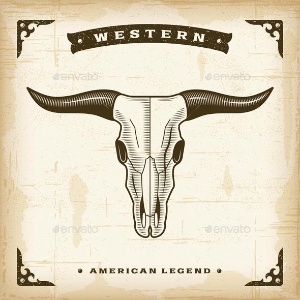 Vintage Western Bull Skull - Animals Characters