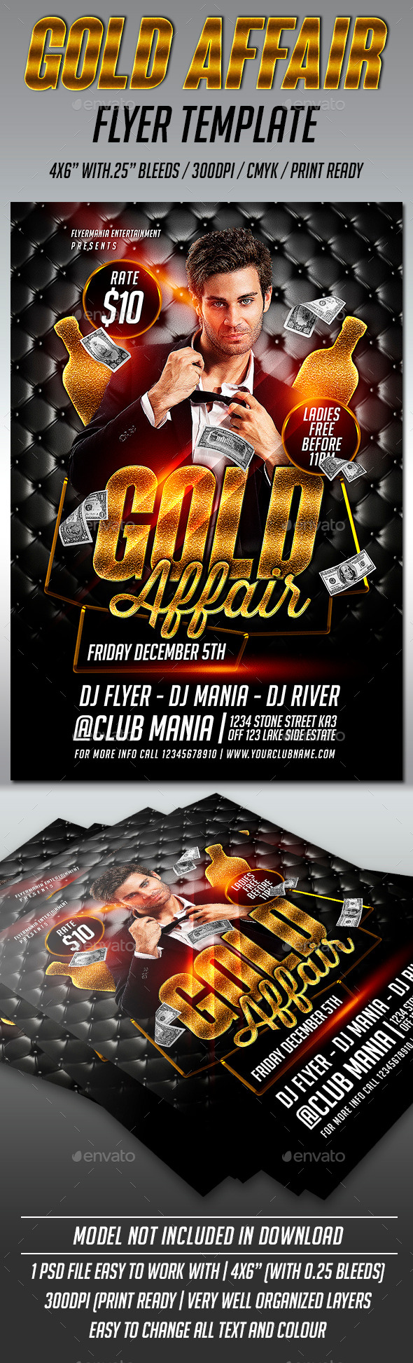 Gold Affair Flyer Template  - Clubs & Parties Events
