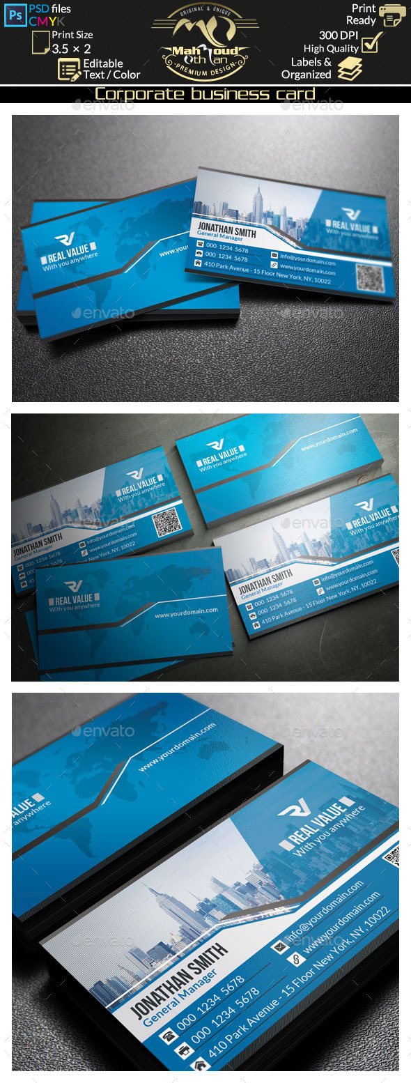 Modern Blue Business Card 45 by far_star60 | GraphicRiver