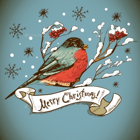 Christmas Greeting Card with Bullfinches - Patterns Decorative