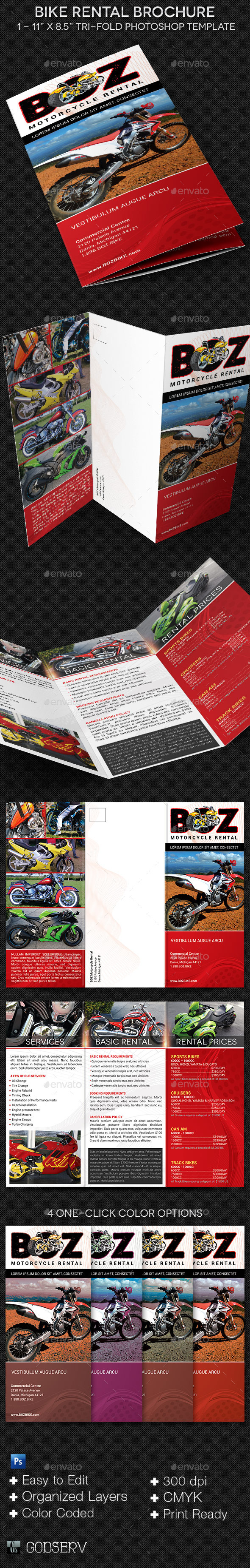 Bike Rental Brochure Template - Informational Brochures