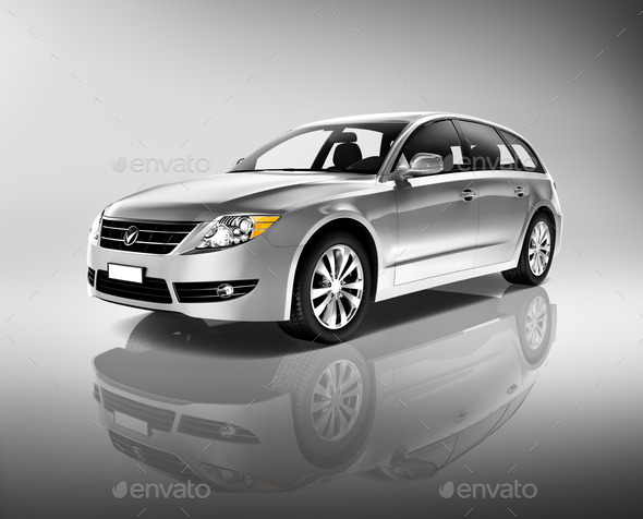 Silver car - Stock Photo - Images