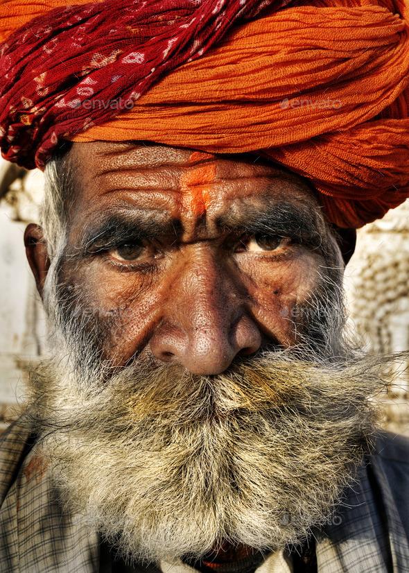 Indigenous Senior Indian Man Looking At The Camera - Stock Photo - Images