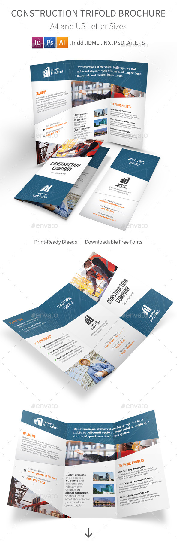 Construction Company Trifold Brochure - Corporate Brochures