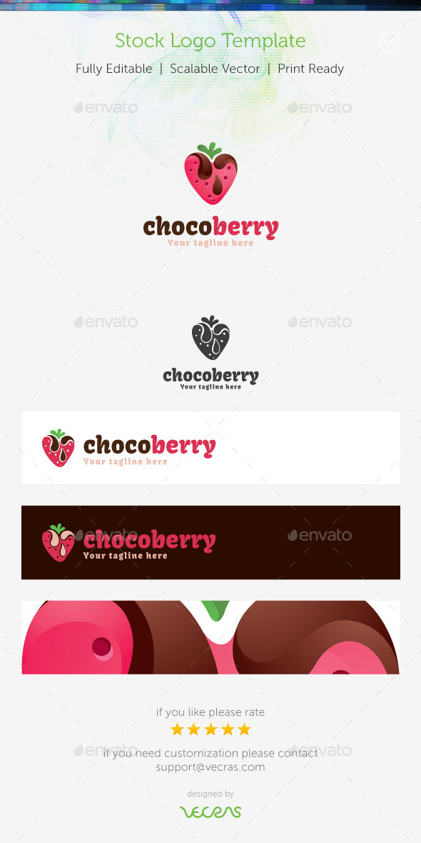 ChocoBerry Stock Logo Template - Food Logo Templates