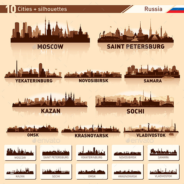 City Skyline Set. Russia. Vector Silhouettes - Buildings Objects