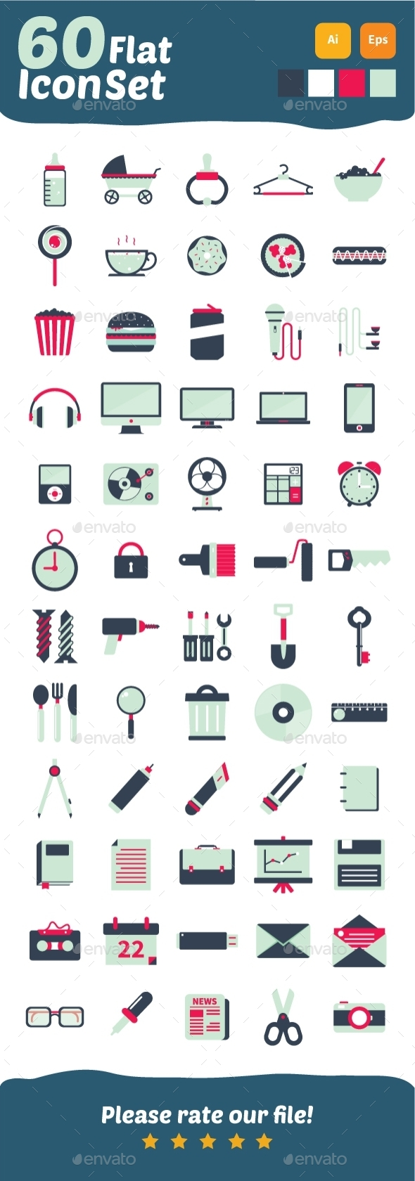 60 Flat Icons Design - Objects Icons