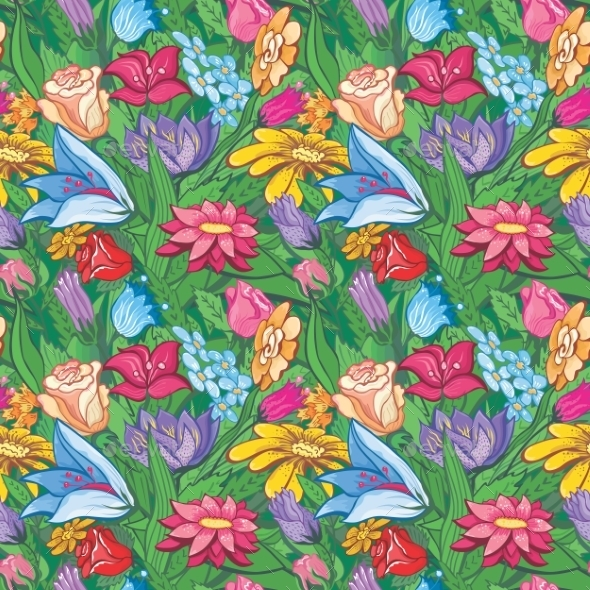Vintage Bright Floral Pattern - Flowers & Plants Nature