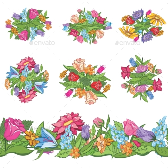 Set of Floral Designs and Seamless Border - Flowers & Plants Nature