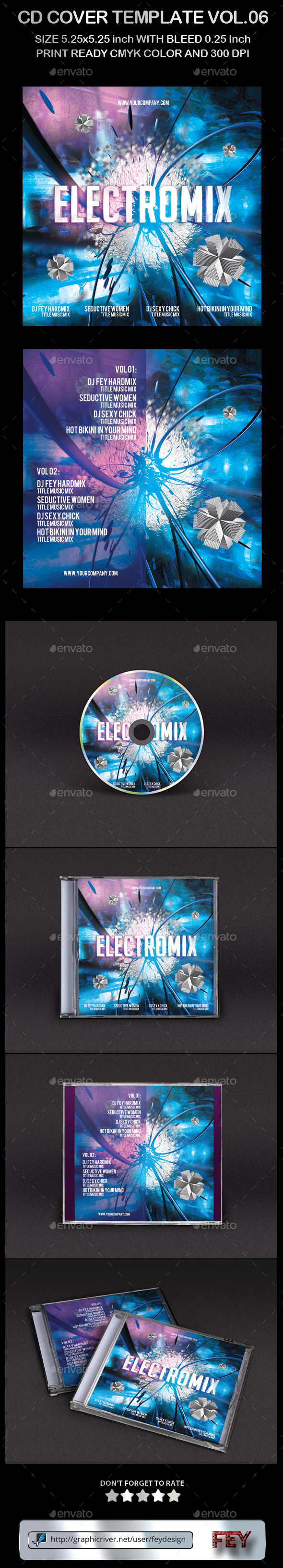 CD Cover Template Vol.06 - CD & DVD Artwork Print Templates
