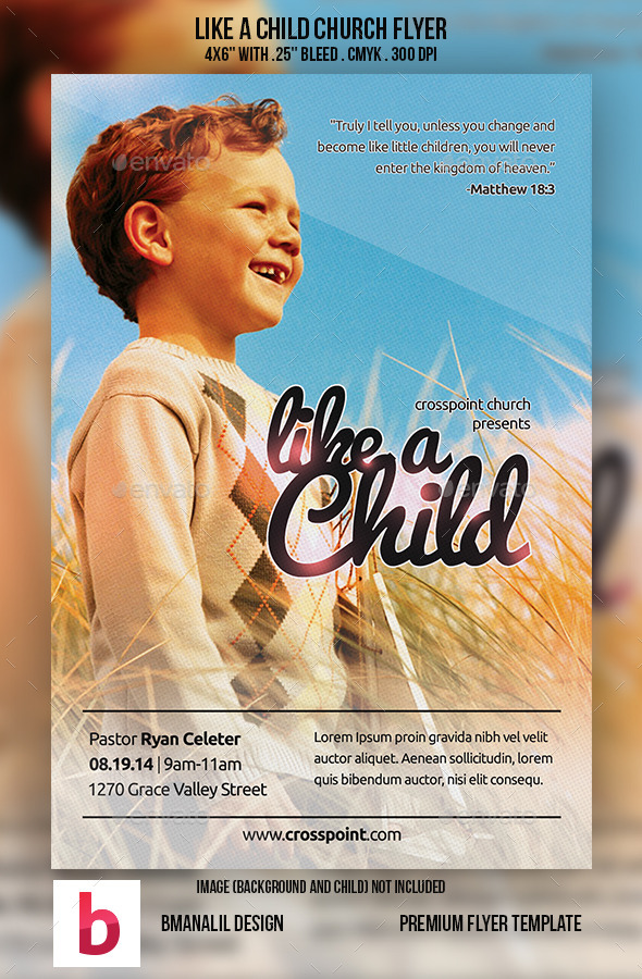 Like a Child Church Flyer - Church Flyers