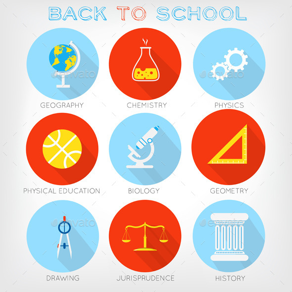 Set of Flat-Styled Icons of School Subjects - Web Elements Vectors