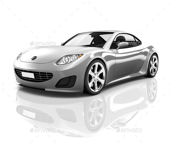 Luxury Silver Sports Car - Stock Photo - Images