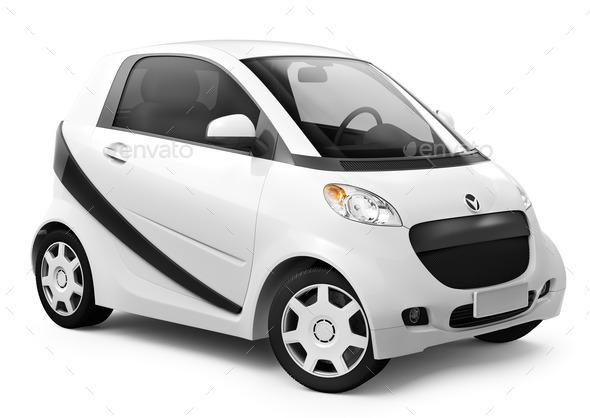 White smart car - Stock Photo - Images