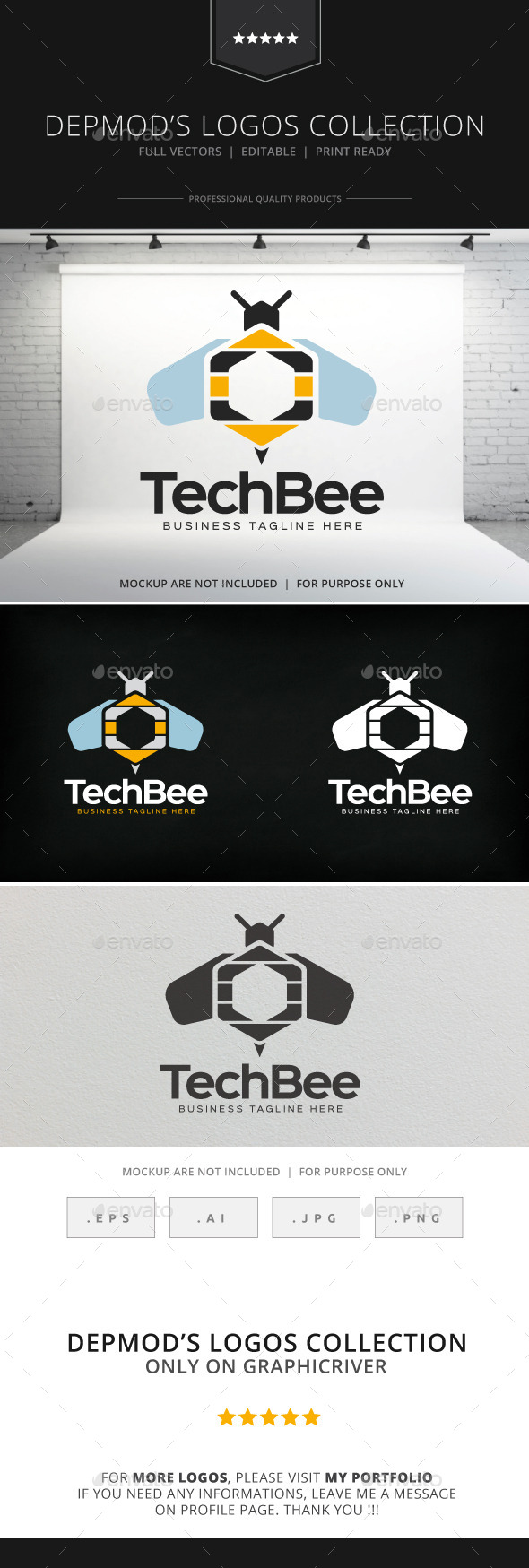 Tech Bee Logo - Animals Logo Templates