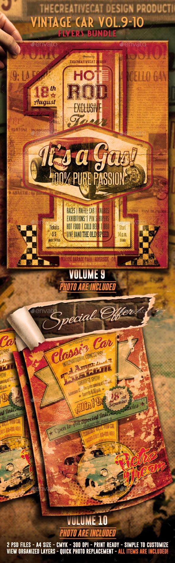 Vintage Car Flyer/Poster Bundle Vol. 9-10 - Events Flyers
