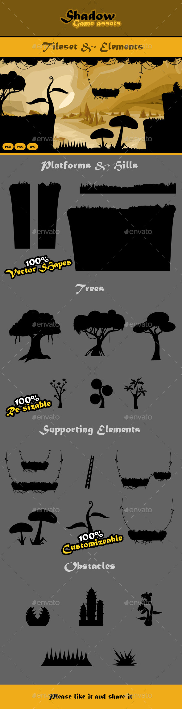 Shadow Game Assets: Tileset & Obstacles   - Tilesets Game Assets