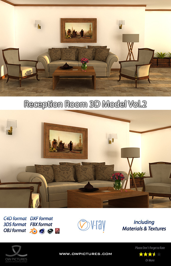 Reception Room 3D Model Vol.2 - 3DOcean Item for Sale