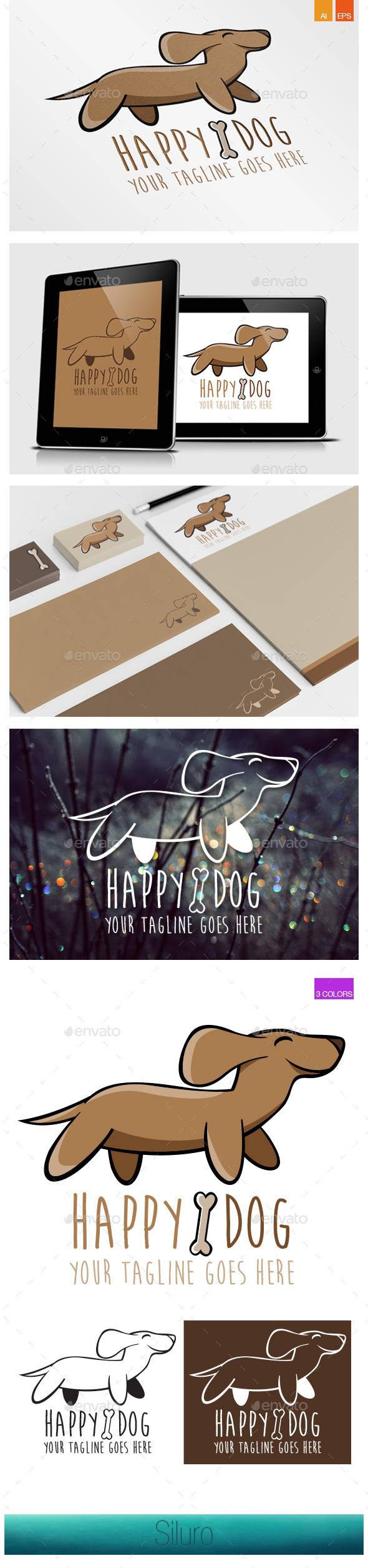 Happy Dog Logo - Animals Logo Templates