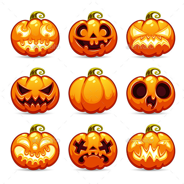 Halloween Cartoon Pumpkins Icons Set - Halloween Seasons/Holidays