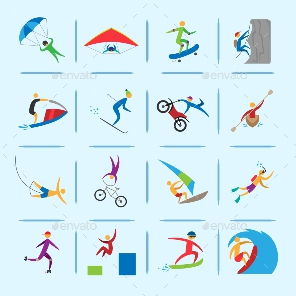 Extreme Sports Icons Set - Sports/Activity Conceptual