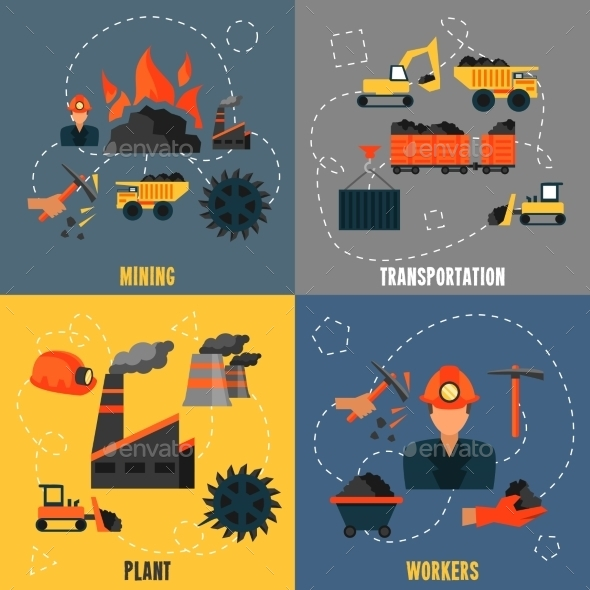 Coal Industry Flat Set - Industries Business