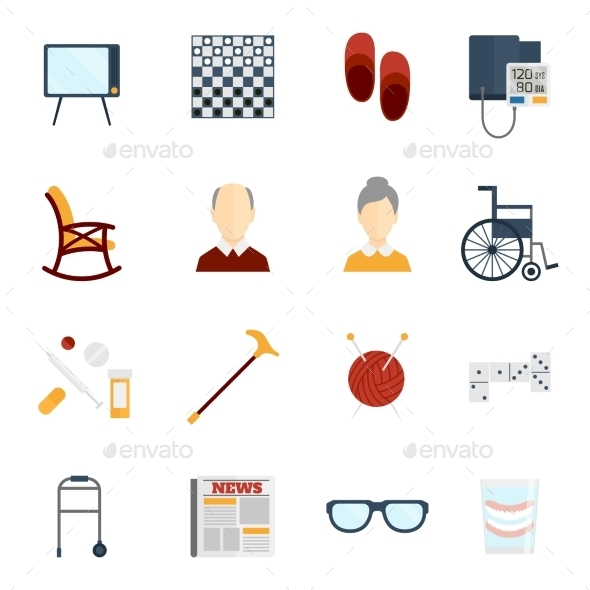 Pensioners Life Icons Flat - Web Technology