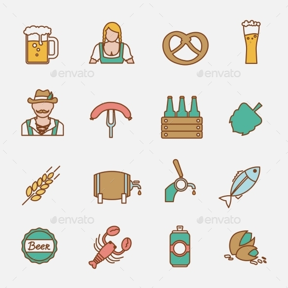 Beer Icons Set Flat Line - Food Objects