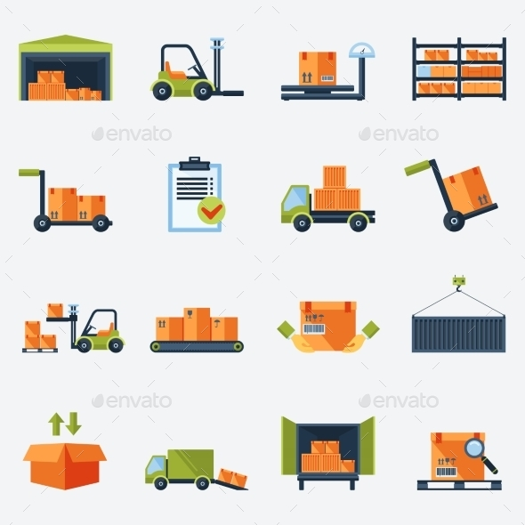 Warehouse Icons Flat - Technology Icons