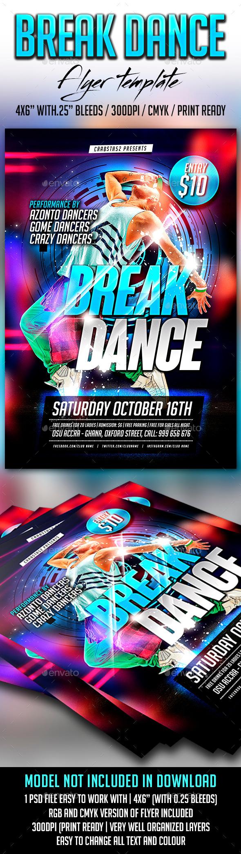 Break Dance Flyer Template - Flyers Print Templates